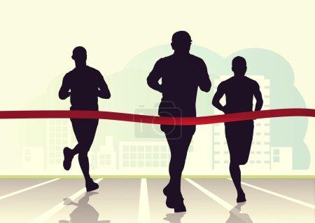 Photo pour Illustration des coureurs de marathon, concept de compétition - image libre de droit