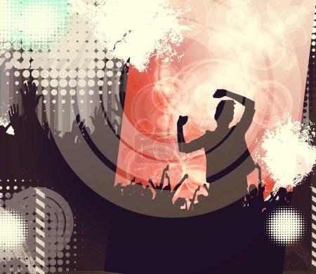 Photo pour Concert, soirée disco. Les gens avec les mains en l'air s'amusent. Illustration vintage - image libre de droit
