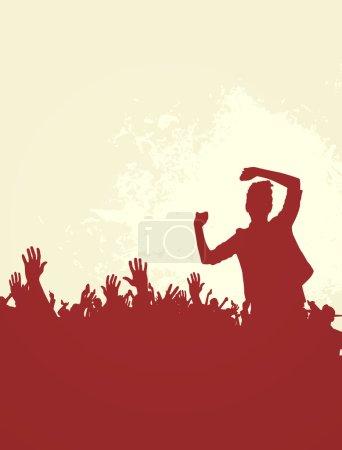 Photo pour Concert, soirée disco. Gens avec les mains en s'amusant. Illustration Vintage - image libre de droit