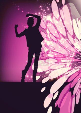 Photo pour Concert, soirée disco. Femme avec les mains en s'amusant - image libre de droit