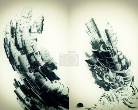 Photo pour Ensemble de deux fonds métalliques abstraits avec éléments vortex et lumière douce - image libre de droit