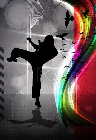 Sport karate training illustration