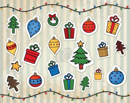 Illustration for Vector christmas decorations on a vintage striped background - Royalty Free Image