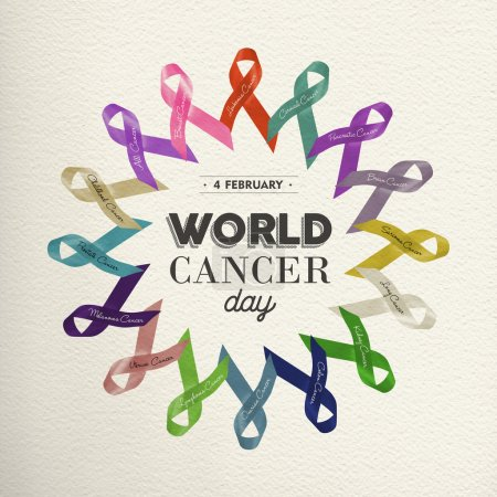 Photo pour Conception du monde cancer du jour faite avec des rubans de couleur différente pour le soutien de la prise de conscience. - image libre de droit