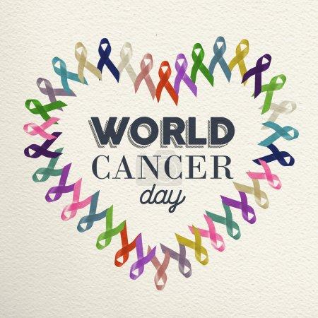 Photo pour Conception de forme de coeur de journée mondiale de cancer faite avec différents rubans de couleur pour le soutien . - image libre de droit