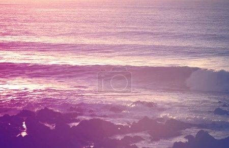 Retro vintage summer surfing shorebreak at sunrise...