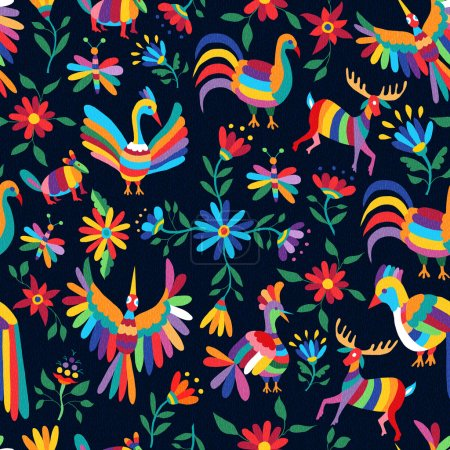 Illustration for Vibrant color seamless pattern with happy spring time illustrations of mexican art style animals and flowers nature elements. EPS10 vector. - Royalty Free Image