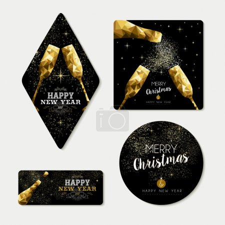Gold christmas and new year greeting card set