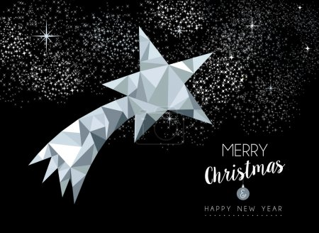 Merry christmas greeting card with silver star