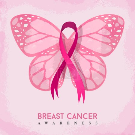 Illustration for Pink butterfly with breast cancer awareness ribbon, hand drawn style illustration for support. EPS10 vector. - Royalty Free Image