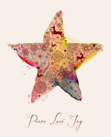 Illustration for Christmas Peace love and joy vintage hand drawn watercolor star greeting card. EPS10 vector file organized in layers for easy editing. - Royalty Free Image