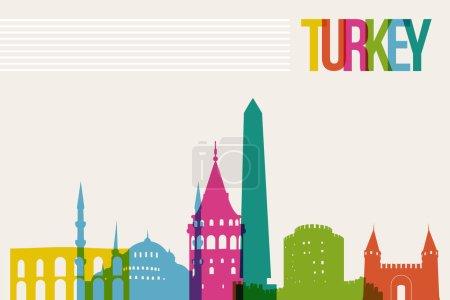 Illustration pour Voyage Turquie célèbres monuments skyline multicolore fond de conception. Vecteur de transparence organisé en couches pour créer facilement votre propre site Web, brochure ou campagne de marketing . - image libre de droit