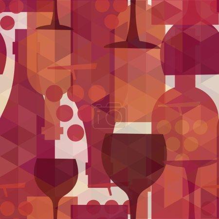 Illustration pour Vin et boisson abstraite motif sans couture illustration de fond avec des bouteilles, des verres et des raisins. Fichier vectoriel transparent EPS10 organisé en couches pour faciliter l'édition . - image libre de droit