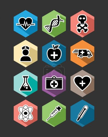 Illustration pour Ensemble de soins médicaux d'icônes plates illustration de conception. Peut être utilisé pour le site Web et l'application mobile. Fichier vectoriel EPS10 organisé en couches pour faciliter l'édition . - image libre de droit