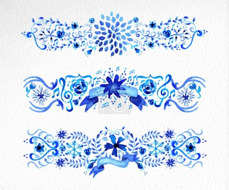 Illustration for Hand drawn watercolor flowers ornament set in blue. Ideal for scrapbooking, valentines, wedding and Christmas card. EPS10 vector file organized in layers for easy editing. - Royalty Free Image