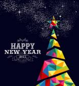 Happy new year 2015 greeting card or poster design with colorful triangle tree and vintage label illustration EPS10 vector file