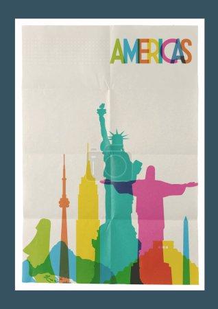 Travel Americas landmarks skyline vintage poster