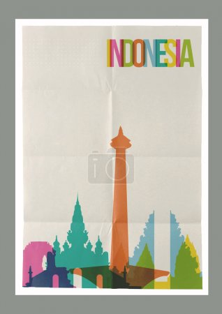 Travel Indonesia landmarks skyline vintage poster