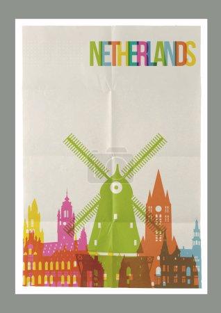Illustration pour Voyage Pays-Bas célèbres points de repère skyline sur papier vintage feuille poster design fond. Vecteur organisé en couches pour créer facilement votre propre carte postale, brochure ou campagne de marketing . - image libre de droit