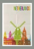 Travel Netherlands landmarks vintage paper poster