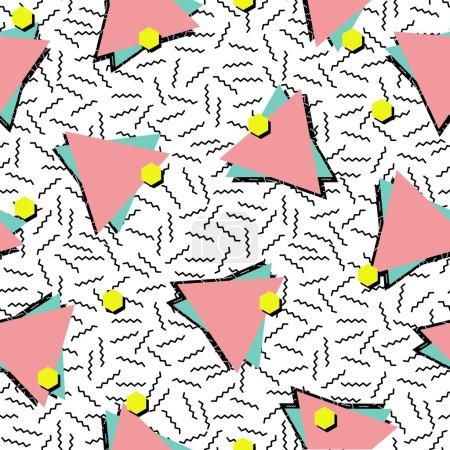 Retro 80s style seamless pattern background