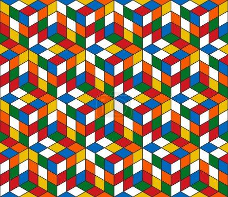 Magic cube retro 80s pattern background