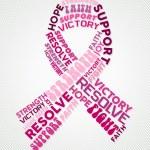 Breast cancer design of pink text cloud ribbon sha...