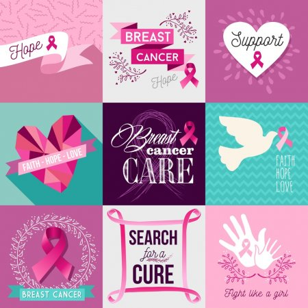 Breast cancer awareness campaign flat design set
