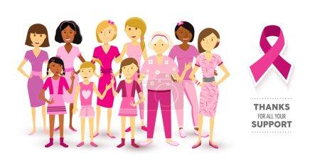 Illustration pour Sensibilisation au cancer du sein multi-génération de femmes de style art plat unies pour soutenir le texte et le ruban. Vecteur EPS10 . - image libre de droit