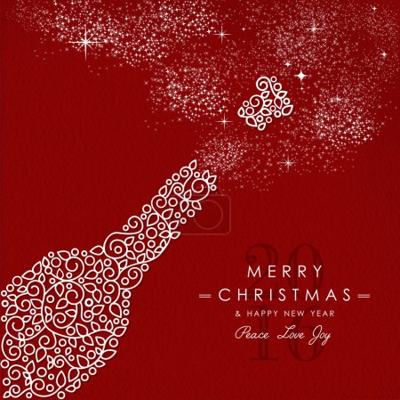 Merry christmas happy new year outline bottle deco