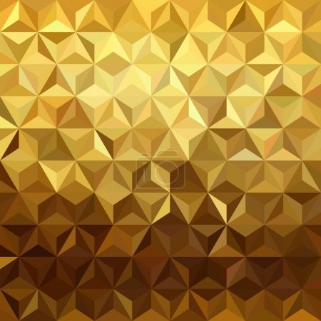 Illustration for Fancy golden seamless pattern in low polygon 3d design. Ideal for web background, print, or greeting card. EPS10 vector. - Royalty Free Image