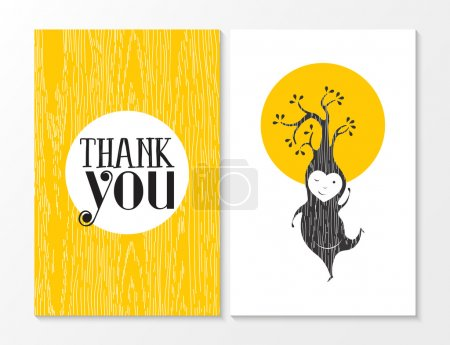 Illustration for Thank you greeting card set with yellow wood texture background and happy tree elf dancing. Ideal for thanksgiving day or friend. EPS10 vector. - Royalty Free Image