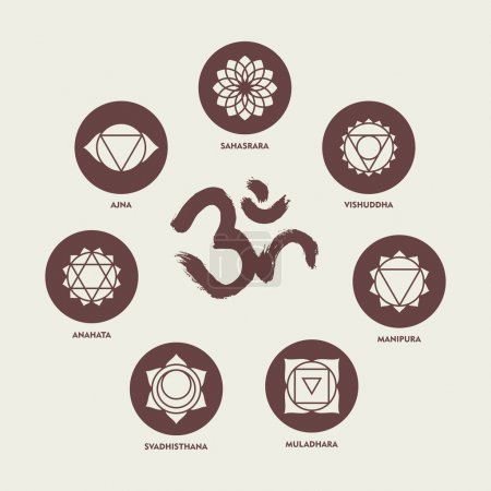 Chakra icon set elements and om calligraphy