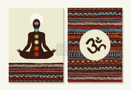Yoga concept set boho background and chakra icons