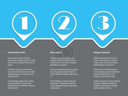 Illustration pour Conception infographique simple avec des grades blancs sur fond bleu gris - image libre de droit