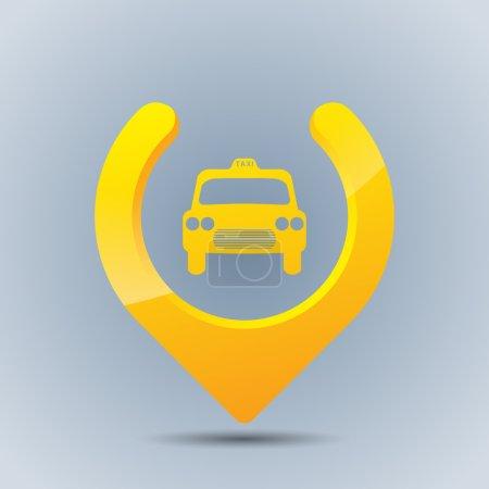 Illustration pour Cool taxi GPS pointeur sur fond bleu grisâtre - image libre de droit