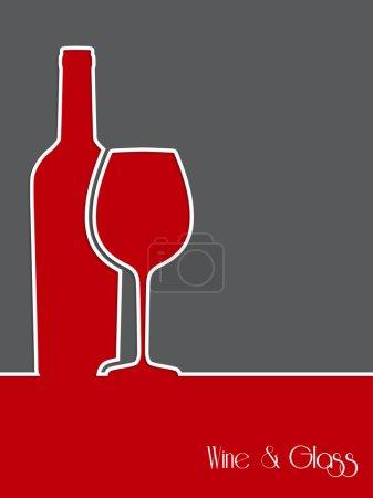 Illustration pour Conception de fond de vin avec bouteille et silhouette en verre - image libre de droit
