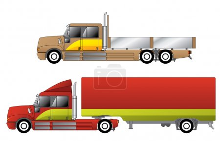 Illustration for Convetional trucks with double cab and various chassis configurations - Royalty Free Image