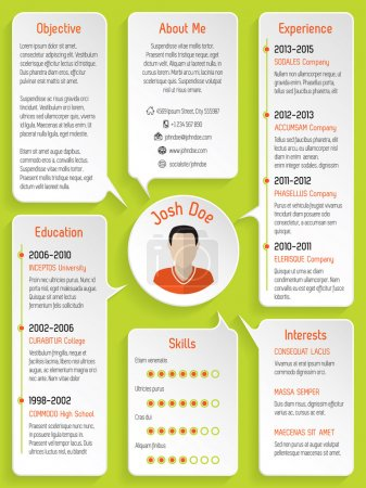 Modern resume design with speech bubbles