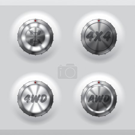 All wheel drive activation buttons with signs and ...