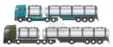 Illustration for Commercial tanker vehicles with dromedary tractors and their trailers - Royalty Free Image