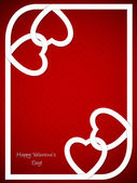 Valentine's day greeting with white heart shaped ribbon and red background