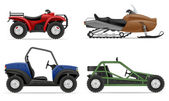 set icons atv automobile off roads vector illustration