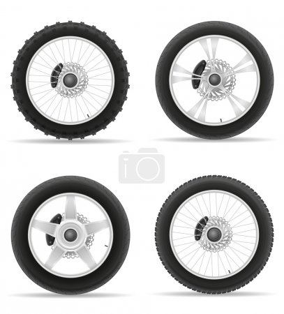 motorcycle wheel tire from the disk set icons vector illustratio