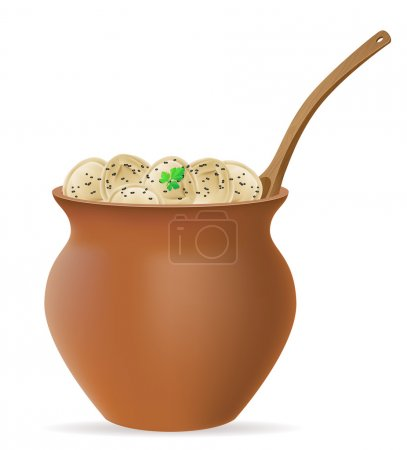 dumplings pelmeni of dough with a filling and greens in clay pot