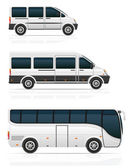 Large and small buses for passenger transport vector illustration isolated on white background