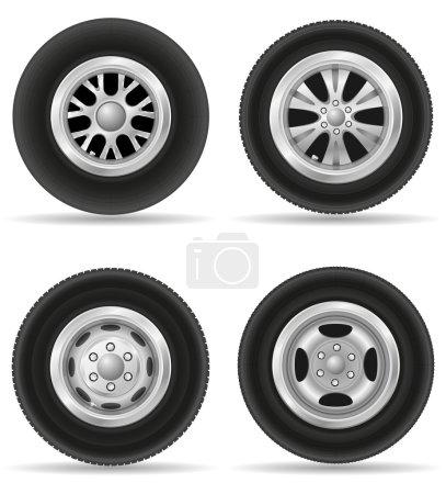 set icons wheel for car vector illustration
