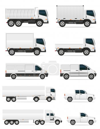 Illustration pour Jeu d'icônes voitures et camion pour le transport de fret vectoriel illustration isolé sur fond blanc - image libre de droit