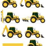 Постер, плакат: set icons yellow tractors vector illustration