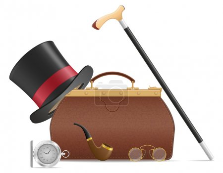 Illustration for Old valise and retro mens accessories vector illustration isolated on white background - Royalty Free Image